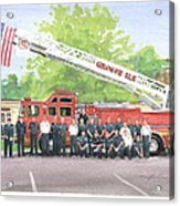 Fire Brigade Truck Watercolor Painting Acrylic Print