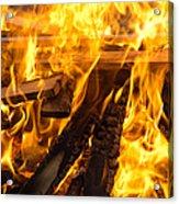 Fire - Burning Wood Acrylic Print