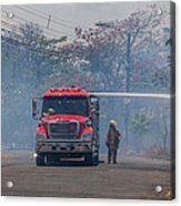 Fire Engine Fighting A Small Fire Acrylic Print