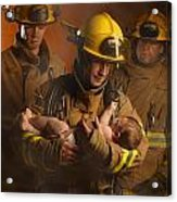 Fire Fighters Rescuing A Baby Acrylic Print by Don Hammond
