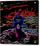 Fire Hydrant Bathed In Neon Acrylic Print