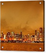 Fire In A Chicago Night Sky Acrylic Print