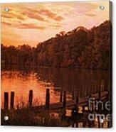 Fire On Lake Newport  Acrylic Print
