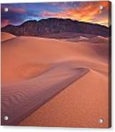 Fire On Mesquite Dunes Acrylic Print by Darren  White