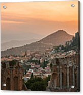 Fire Over Taormina City Acrylic Print