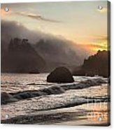 Fire Over The Sea Stacks Acrylic Print by Adam Jewell