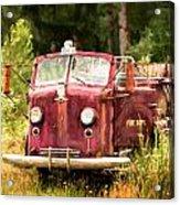 Fire Truck Digital Painted Acrylic Print