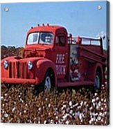 Fire Truck In The Cotton Field Acrylic Print