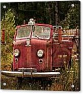 Fire Truck With Texture Acrylic Print
