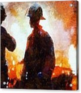 Firefighters At The Scene Acrylic Print