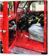 Fireman - Fire Truck With Fireman's Uniform Acrylic Print
