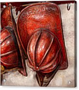 Fireman - Hat - Old Fashioned Fire Hats  Acrylic Print by Mike Savad