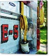 Fireman - Hose In Bucket On Fire Truck Acrylic Print