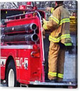 Fireman On Back Of Fire Truck Acrylic Print