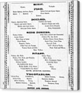 Firemen Dinner Menu - San Francisco - 1856 Acrylic Print