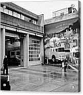 firemen hosing down Vancouver fire rescue services hall 2 in downtown eastside  BC Canada Acrylic Print