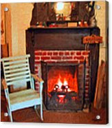 The Family Hearth - Fireplace Old Rocking Chair Acrylic Print