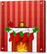 Fireplace Christmas Decoration Wth Stockings And Wallpaper Acrylic Print