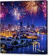 Fireworks Above Bangkok City Acrylic Print