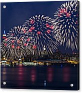 Fireworks And Full Moon Over New York City Acrylic Print