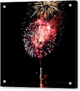 Fireworks Are Shot Off Over Lake Tahoe Acrylic Print