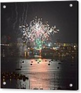 Fireworks At Night For The 4th Of July Over Fort Walton Beach From 14th Floor Balcony Acrylic Print