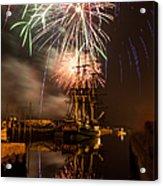 Fireworks Exploding Over Salem's Friendship Acrylic Print