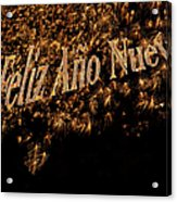 Fireworks Feliz Ano Nuevo In Elegant Gold And Black Acrylic Print