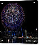 Fireworks In New York City Acrylic Print by Susan Candelario