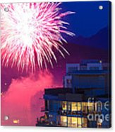 Fireworks In The City Acrylic Print by Nancy Harrison