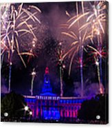 Fireworks Over Denver City And County Building Acrylic Print by Teri Virbickis