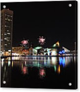 Fireworks Over Downtown Baltimore Acrylic Print