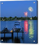 Fireworks Over Stony Creek Acrylic Print by Brian Wallace