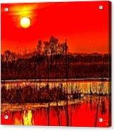 Firey Dawn Over The Marsh Acrylic Print