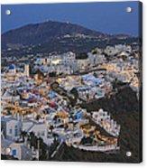 Firostefani At Night Santorini Cyclades Greece  Acrylic Print