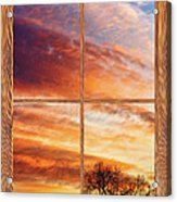 First Dawn Barn Wood Picture Window Frame View Acrylic Print