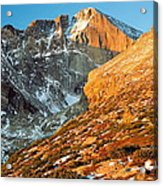 First Light At Longs Peak Acrylic Print by Eric Glaser