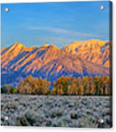 First Light On The Tetons Limited Edition Panorama Acrylic Print
