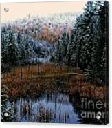 First Snow Acrylic Print by Steven Valkenberg