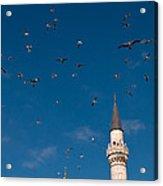 Firuz Aga Mosque Seagulls Acrylic Print