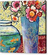 Fish Bowl And Posies Acrylic Print by Diane Fine