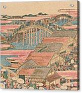 Fish Market By River In Edo At Nihonbashi Bridge  Acrylic Print by Hokusai