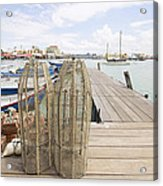 Fish Trap On Jetty In Penang Acrylic Print