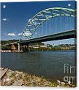 Fisherman At Birmingham Bridge Pittsburgh Pennsylvania Acrylic Print by Amy Cicconi