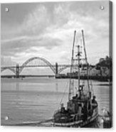 Fisherman At Newport Bay In Oregon Acrylic Print