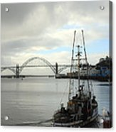 Fisherman At Newport Bay In Oregon II Acrylic Print