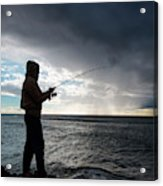 Fisherman Fishing While Storm Blows Acrylic Print
