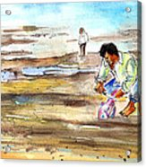 Fisherman On Las Canteras Beach Acrylic Print