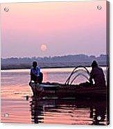 Fisherman On The Ganges River At Varanasi Acrylic Print