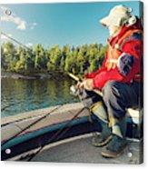 Fisherman Sitting On Foredeck Acrylic Print